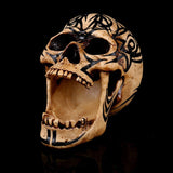 """The Perpetual Yawn"" Skull Statue with tribal design - skullpixie"