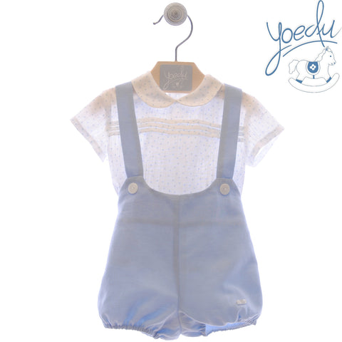 Baby boy polka dots shirt and short with suspender set