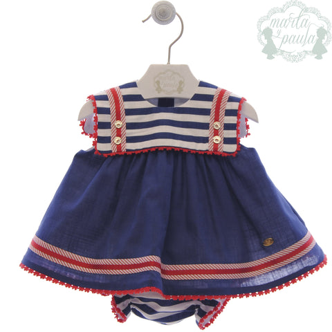 Baby girls marine stripes dress with red detail and bloomer