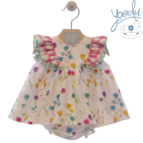 Baby girls floral and dots print dress with bloomer set