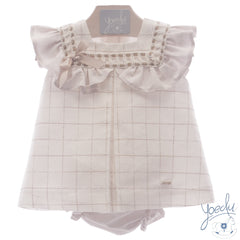 Baby Girls Square embroidered  dress with panty