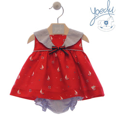 Baby girls sailor print red dress with bloomer set