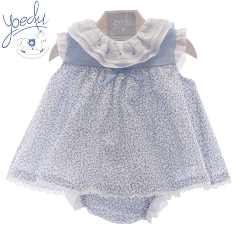 Baby Girls floral print ruffle collar and panty dress