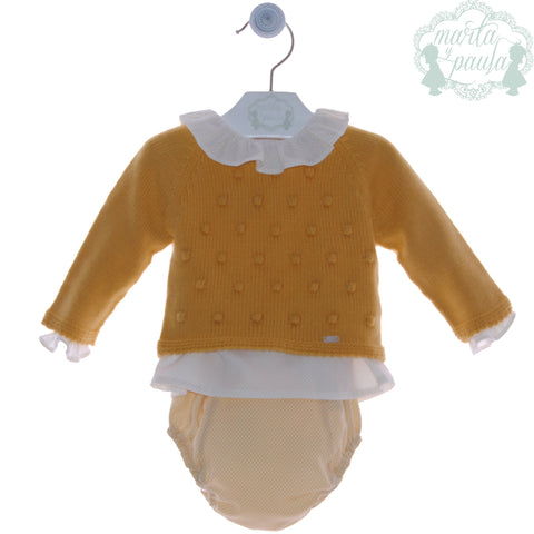 Baby sweater with peter pan collar shirt and bloomer 3p set