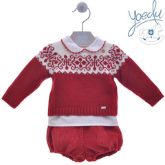 Baby snowflakes sweater  white shirt and corduroy short pants  3p set