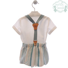 Boys light green stripes  short with suspender and white mao collar shirt set