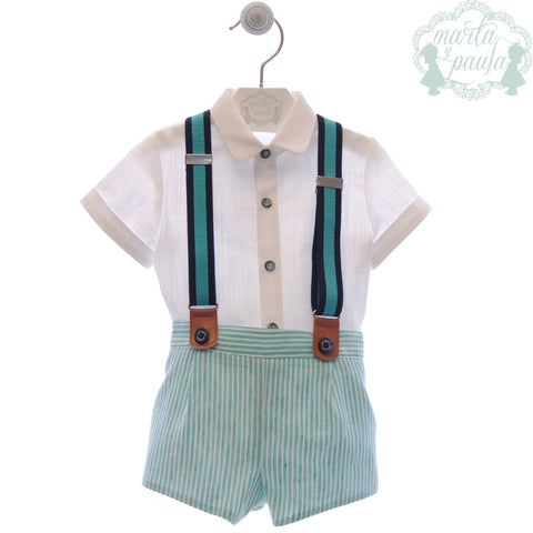 Boys turquoise stripes  short with suspender and white shirt set