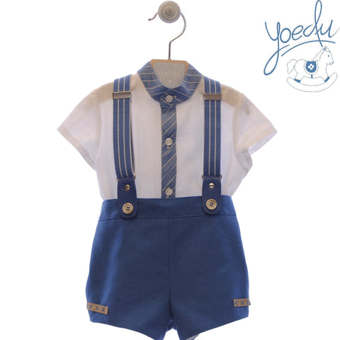 Baby boy blue stripes  suspender short with mao collar shirt set