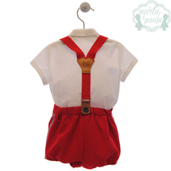 Boys red short and suspenders with white shirt set