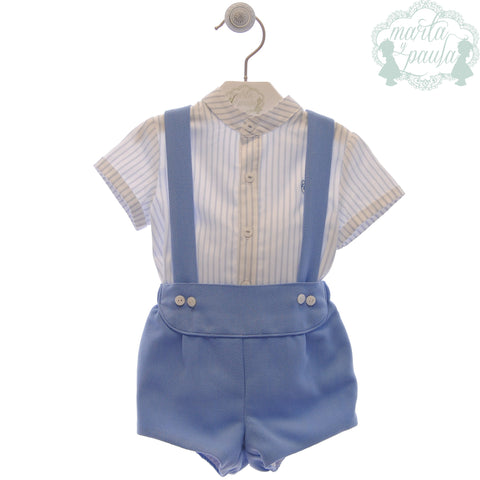 Boys stripes mao collar shirt and short with suspenders