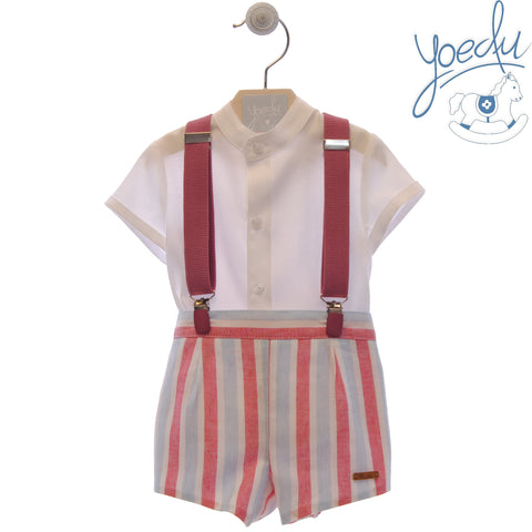 Boys stripes print short with suspenders set