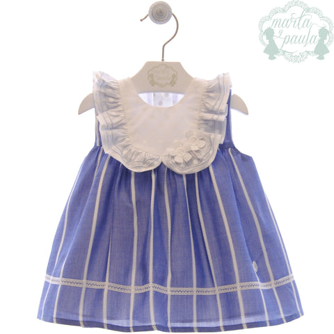 Baby girls stripes and polka dots collar  blue dress