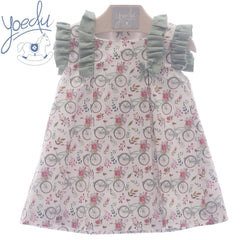 Girls Bicycle flowers print dress