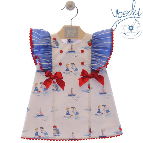 Girls boats print and stripes Dress