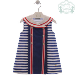 Girls marine stripes dress with red detail and buttons