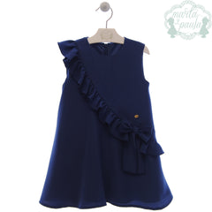 Girls side frills and bow dress