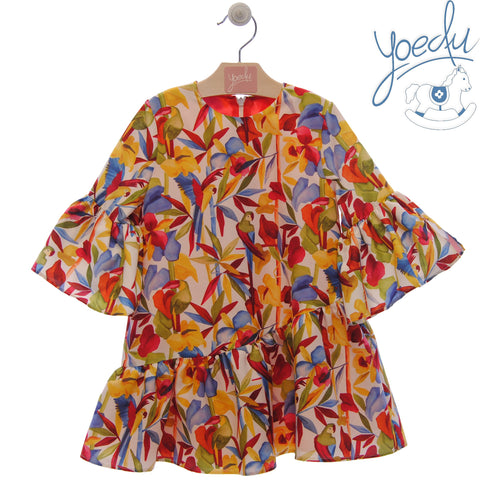 Girls multicolor macaw print dress