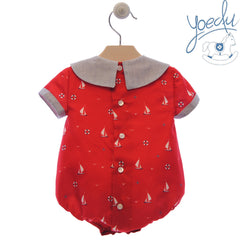 Baby boy boats print red romper