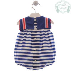 Baby stripes and red detail romper