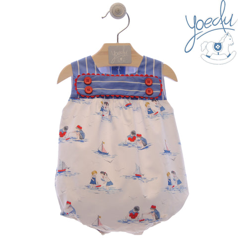 Baby boy boats print and stripes romper