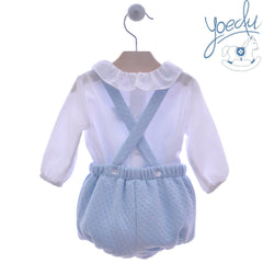 Baby boys short with suspender and peter pan collar white shirt