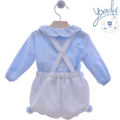 Baby boys romper with pom poms and petter pan collar shirt