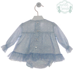 Baby girls short dress with bloomer and bonnet