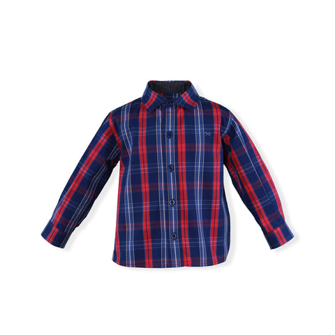 Baby blue red plaid long sleeve shirt