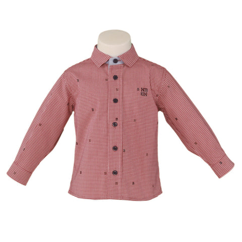 Boys red long sleeve plaid shirt