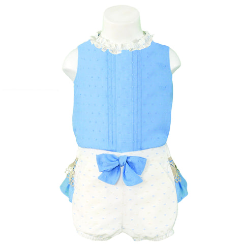 BABY GIRLS SET OF SLEEVELESS SHIRT AND SHORTS PANT WITH RUFFLES