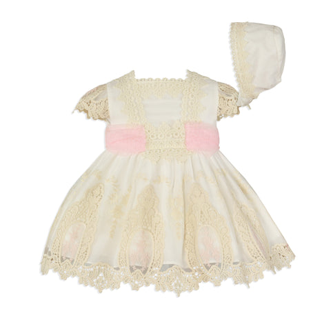 Baby girls lace and pink belt dress with bonnet
