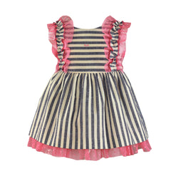 Baby girls stripes and lace ruffles dress