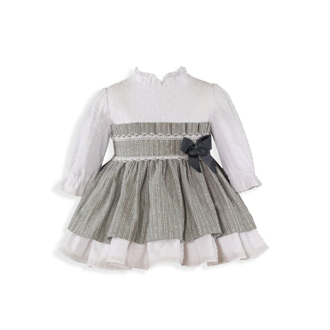 Baby plumeti bow Gray Dress