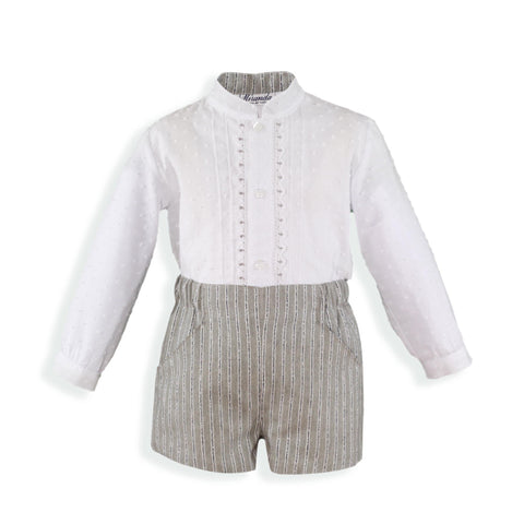 Boys mao collar plumeti long sleeve shirt and gray short