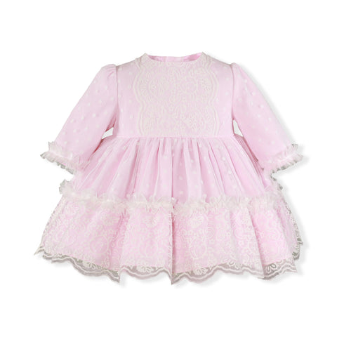 Baby Girls dots lace long sleeve pink dress