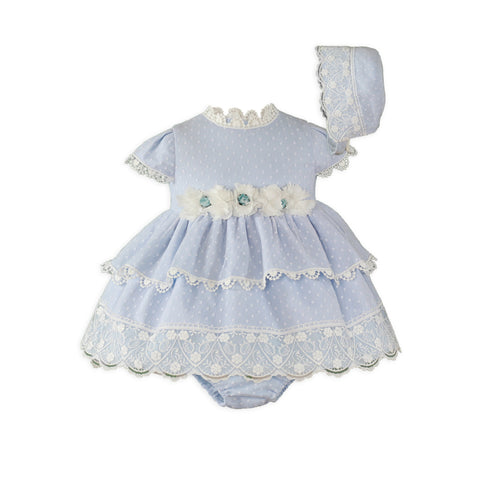 Baby girls lace and floral applique dress with bloomer and bonnet