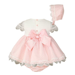 Baby girls lace and floral appliques  dress with bloomer and bonnet