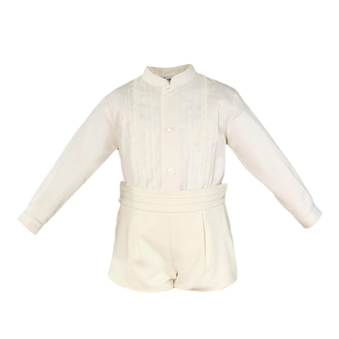 Boys long sleeve mao collar shirt with velvet short pants
