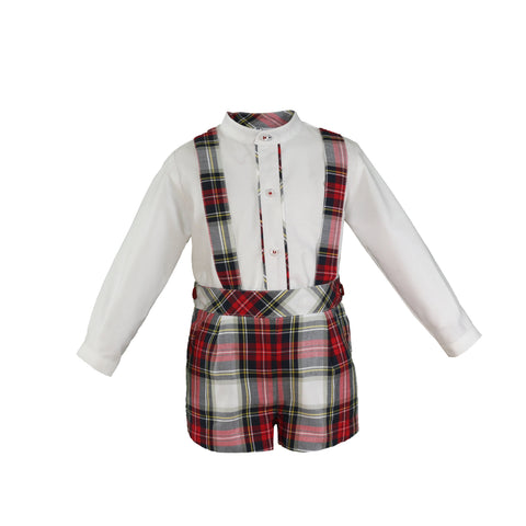 Baby boys red plaid short with suspenders and long sleeve mao collar shirt