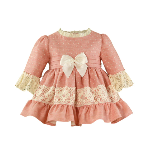 Baby girls polka dots and lace long sleeve dress