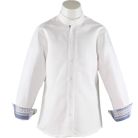 Boys linen long sleeve mao collar shirt