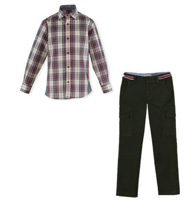 Boys green long pant and plaid shirt set