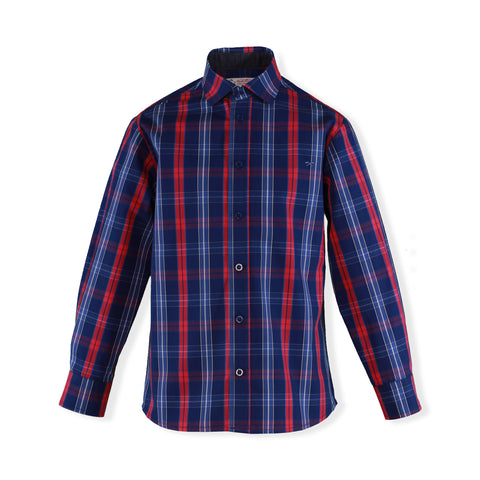 Boys blue red  plaid long sleeve shirt