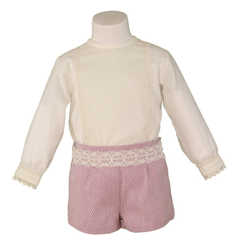 Baby boys old pink short set