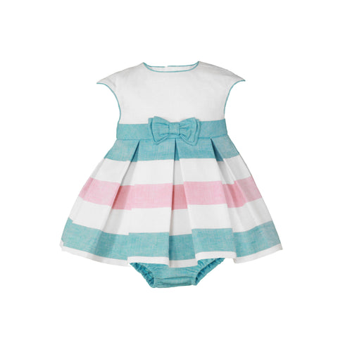 Baby girls princess cut and stripes dress with bloomer
