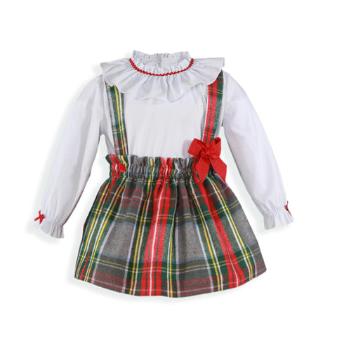 Baby plaid suspender skirt and blouse set