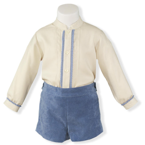 Baby Boys blue suede shorts set