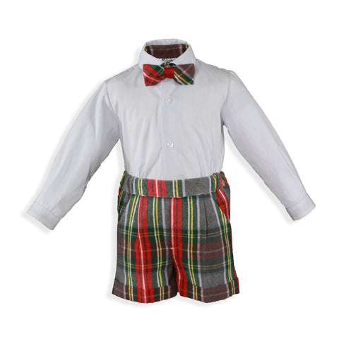 Boys plaid bow tie shirt and short set