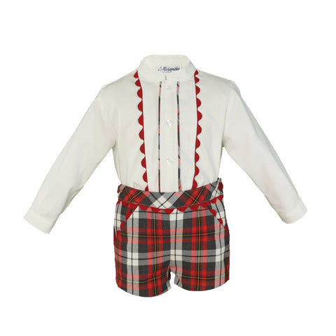 Boys red plaid short with long sleeve mao collar shirt with red details