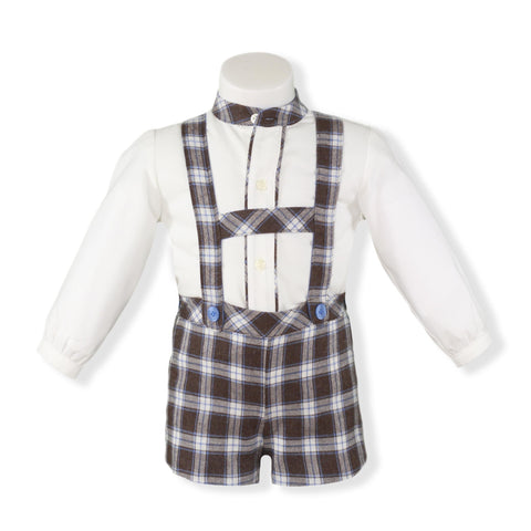Baby Boys brown suspender plaid set